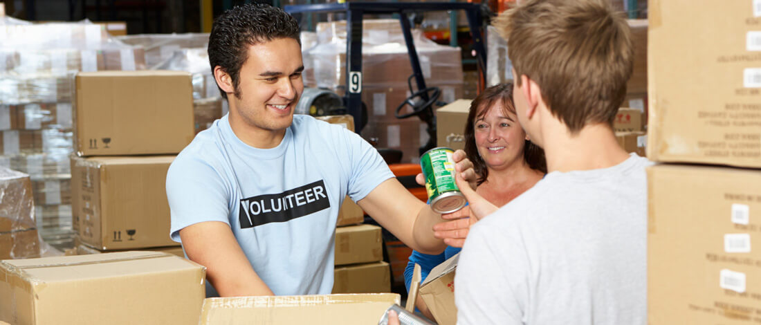 volunteers at food bank